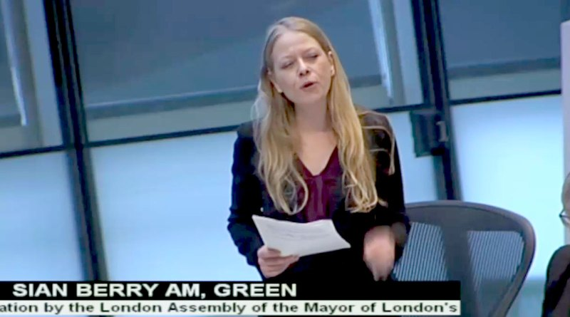 Sian Berry speaking on the GLA budget