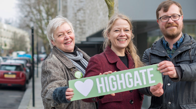 Kirsten de Keyser, Sian Berry and John Holmes in Highgate