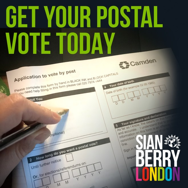 Get your postal vote today - links to London Elects website