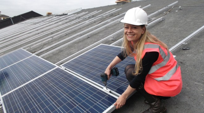 Sian Berry with solar panels in process of being installed