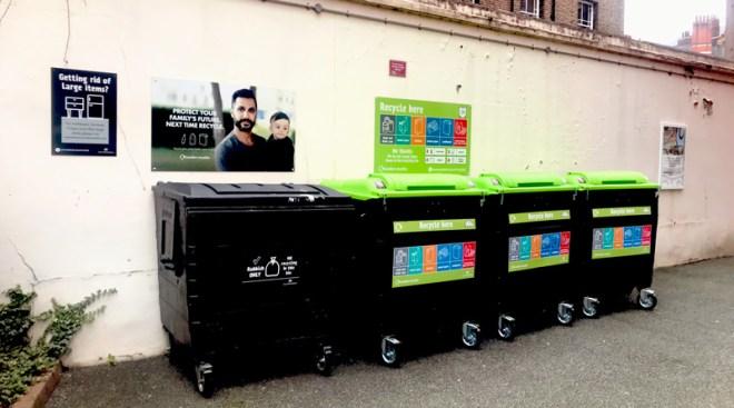 Recycling bins in an estate in London
