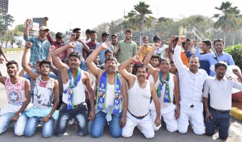BC Welfare Association activists hold Rasta Roko with half naked Demonstration protesting the creation of 10% Reservations to OCs at Babujagjivan Ram Statue, Basheerbagh in Hyderabad