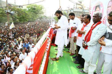 Janasena Party president Sri Pawan Kalyan addressing Election rally in Nandikotkur in Kurnool district