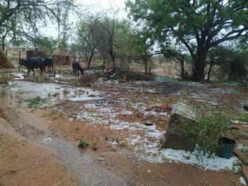 A view of the heavy sleet fall at Yadadri Bhuvanagiri district Tarakapally Mandal of Telangana on Friday.