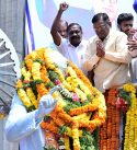 Leaders of different political parties and organisations paying floral tributes to Dr. B.R. Ambedkar on his birth anniversary at his statue at Tank Bund