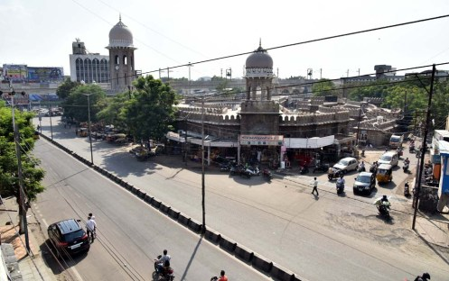 Very few vehicles moves on the road as the mercury level increasing at Mozamjahi Market in Hyderabad