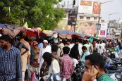 People are seen buying fruits for Iftar at Nayapul