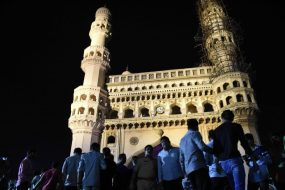 A minaret of Charminar towards South-Western side got damaged. It may be mentioned that recently, Archeological Survey of India had undertaken the renovation work of the monument. The tourists got wonderstruck after noticing that a piece of lime stucco work on one of its minarets had fallen down. Within no time, a large number of tourists and local residents gathered near the monument. Police reached the spot and dispersed the mob. Later, the matter was reported to the officials of Archeological Survey of India. ACP (Traffic), Charminar, Mr. G. Naganna informed that a year before, Archeological Survey of India had undertaken the repair works when a crack was developed in the minaret of the historical monument.