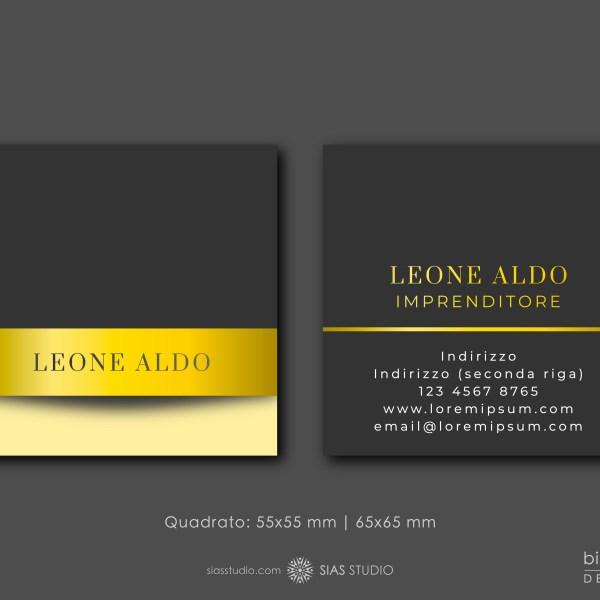 """Modello per Biglietto da visita """"Leone Aldo"""" Design effetto oro"""