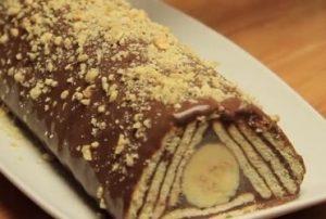 Si behet torte piramide me biskota, rikoto e banane. Receta gatimi.torte me bisota