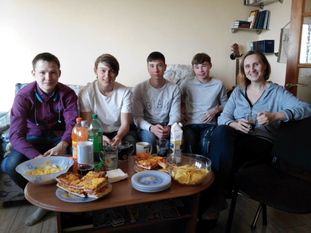 Four of the boys with Irina having a party