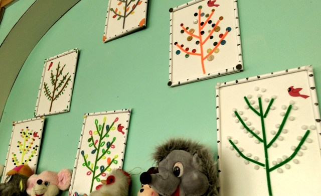 """""""paintings"""" of plants using buttons and pipe cleaners, etc"""