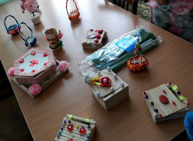 craft decorated boxes and scented soap baskets