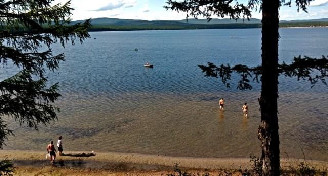 lake among larch forests