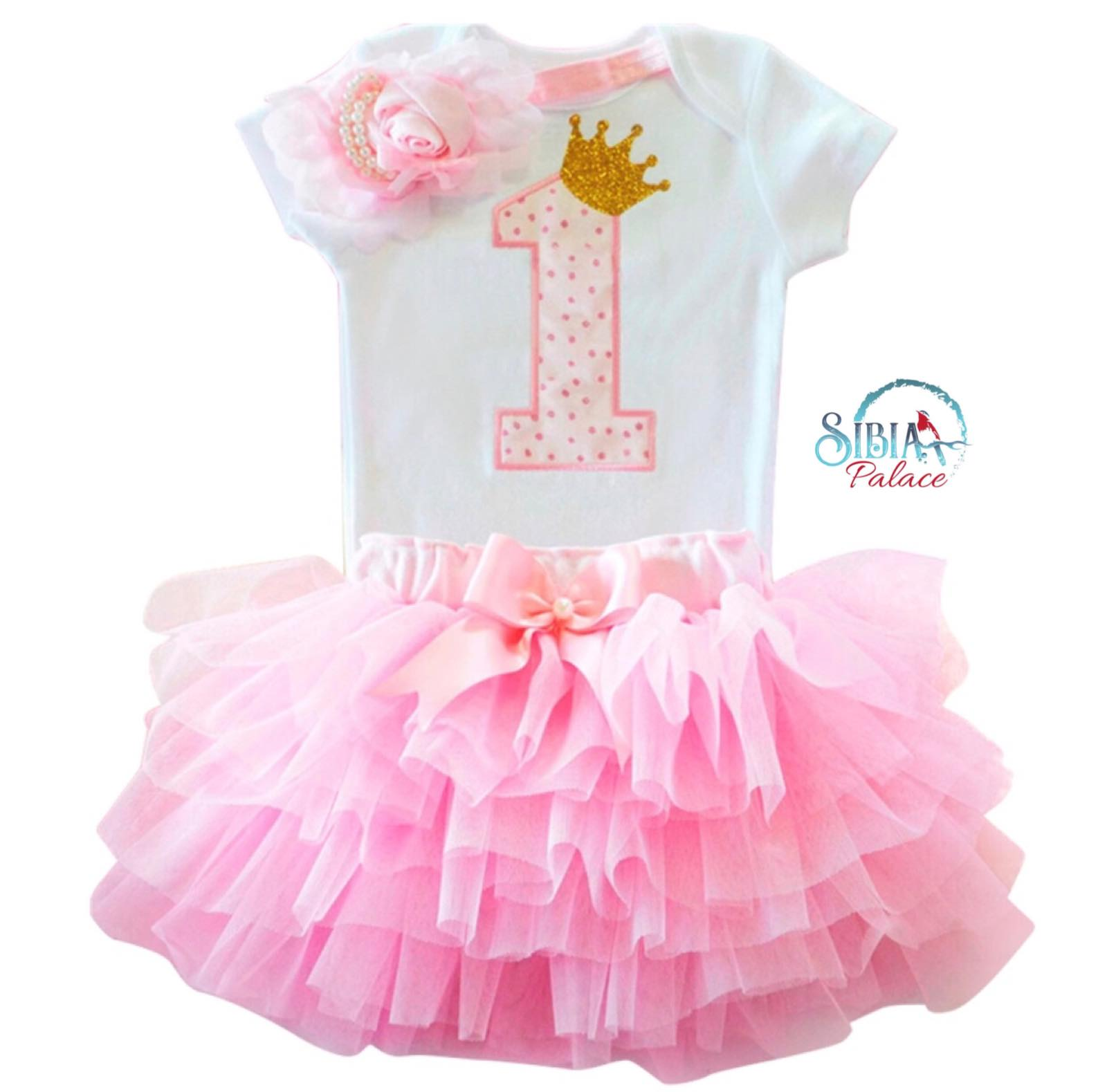 Sibia Palace Baby Girl 1st Birthday Princess Theme Pink Glitter Outfit