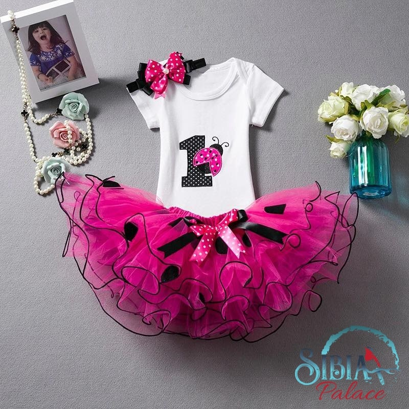 Sibia Palace Baby Girl Lady Bug 1st Birthday Black Rose Pink 3 Pcs Outfit