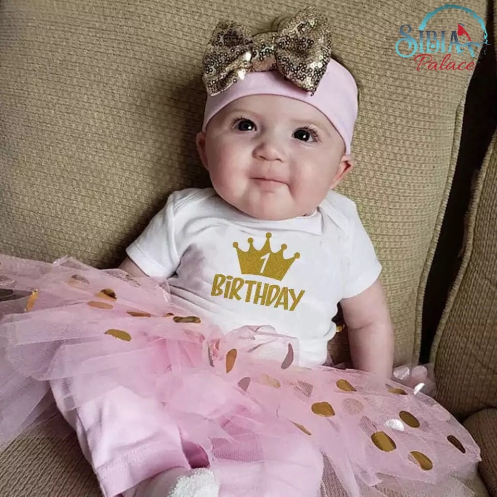 Sibia Palace 1st Birthday One Princess Baby Girl Pink Onesie Tutu Outfit