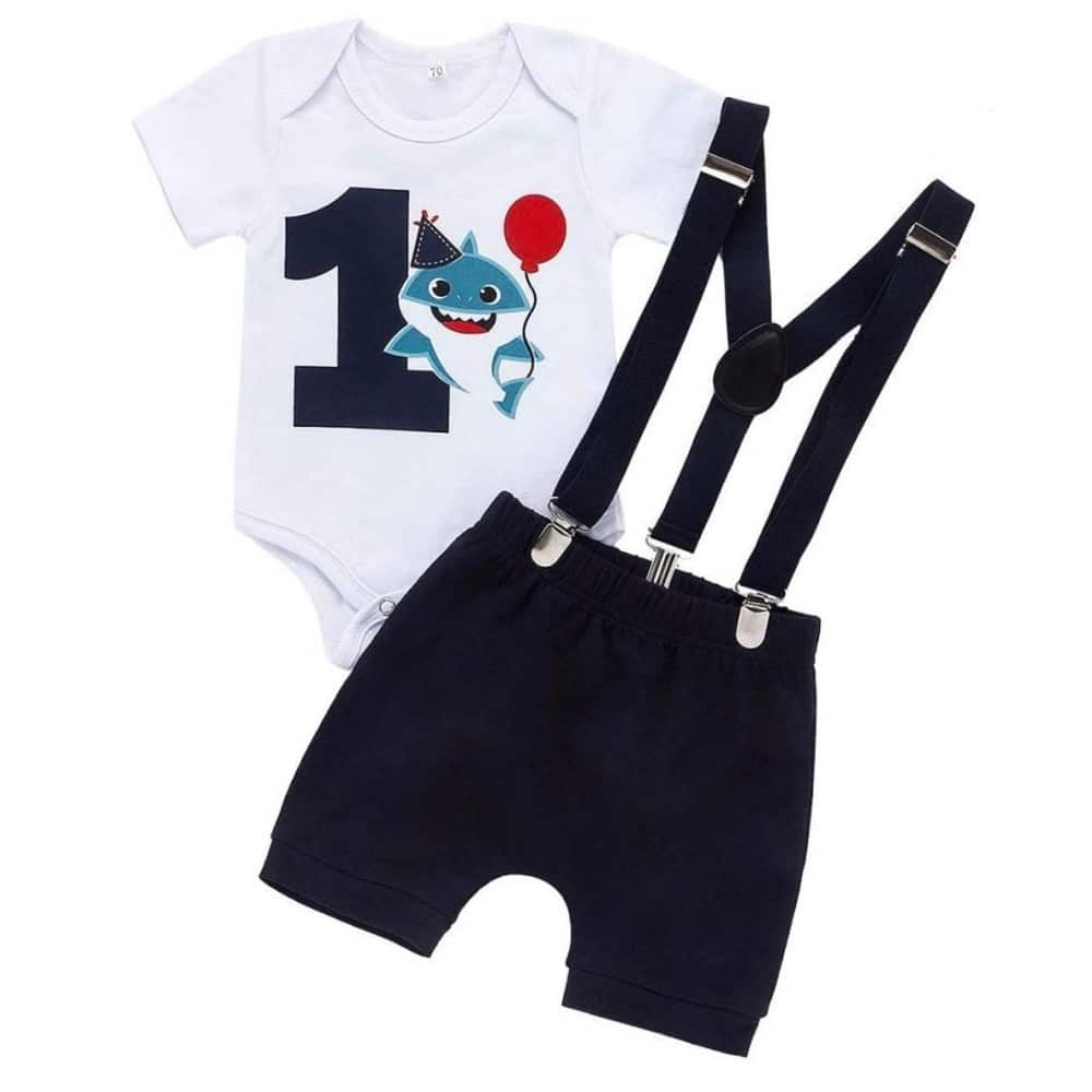Sibia Palace Baby Boy 1st Birthday One Cake Smash Baby Shark Outfit