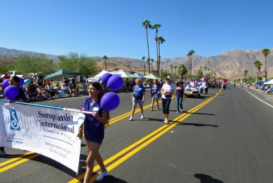 "Soroptimists and ""S"" Club members marching in the Borrego Days Parade"