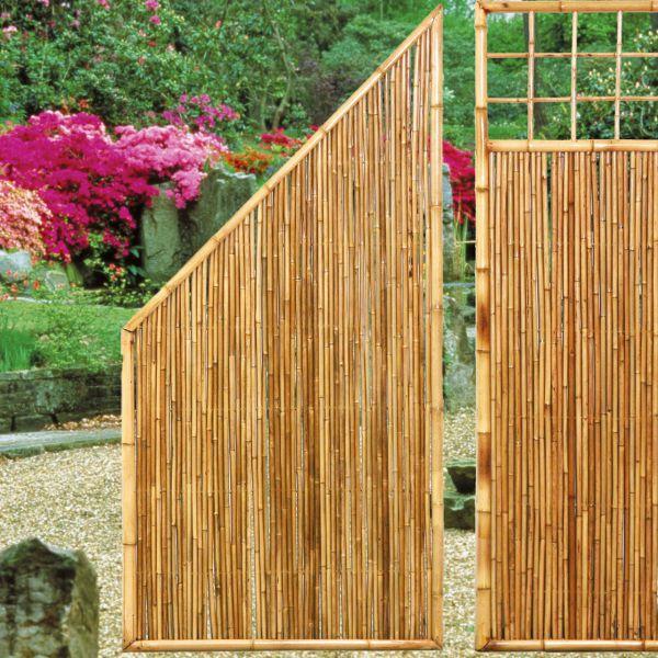 sichtschutzwand bambus zen abschlusselement schrag