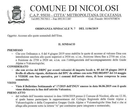 Etna, nuova ordinanza a Nicolosi per l'accesso alle quote sommitali