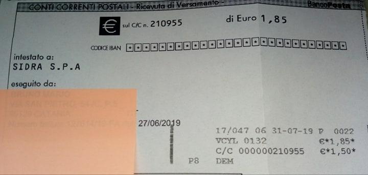 Sidra: una bolletta da 1,85 euro costa all'utente 1,50