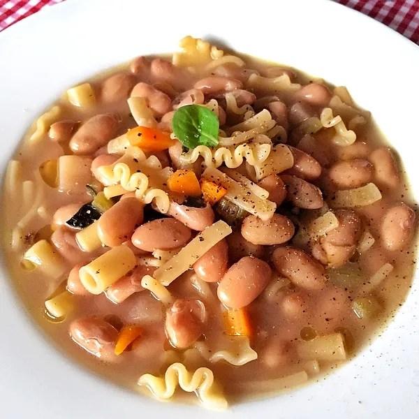 Summer pasta e fagioli soup