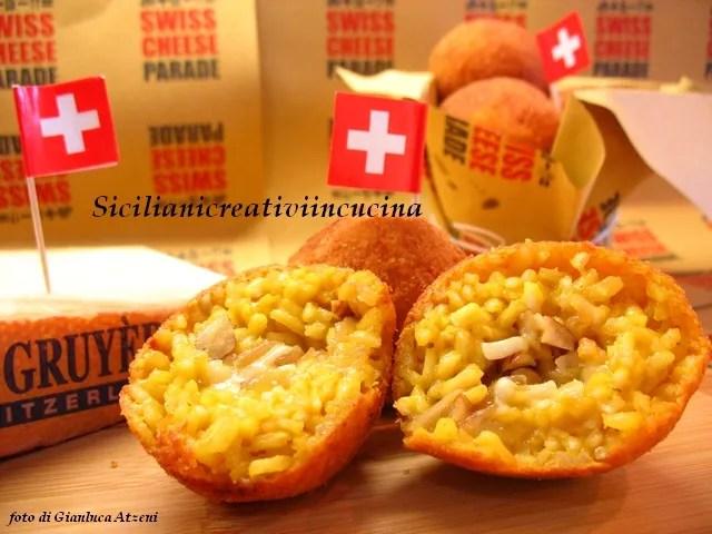 Arancini Swiss cheese and onions stewed