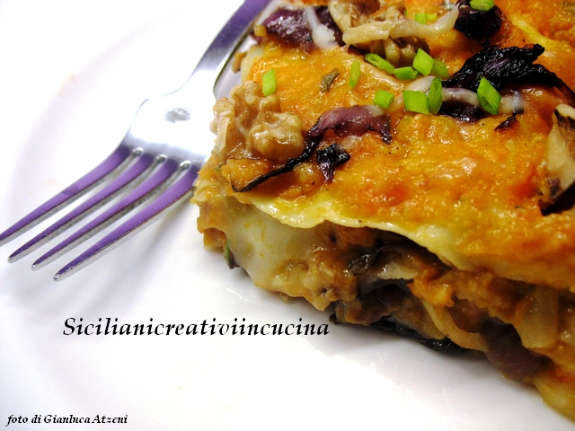Vegetarian lasagna with pumpkin, radicchio, nuts and taleggio