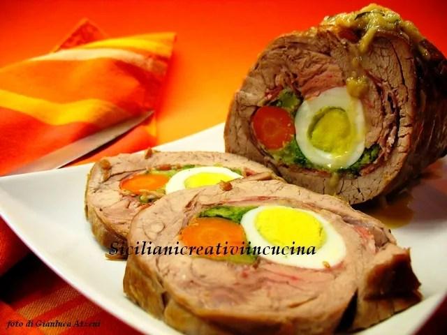 Kalbfleisch gefüllte sizilianische Braten