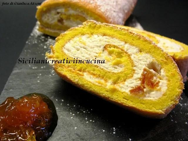 Rotolo con panna e marmellata di arance