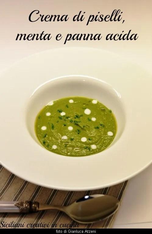 エンドウ豆のクリーム, ミントとサワー クリーム: ビロードのようなフレッシュで繊細な春