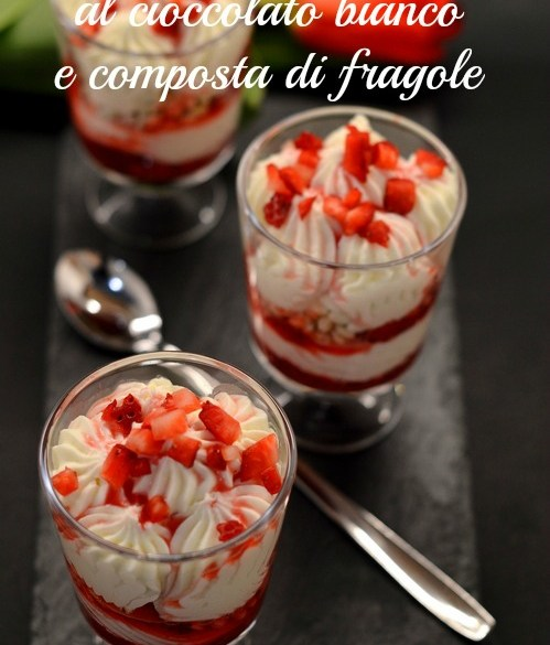 White chocolate mousse and strawberries