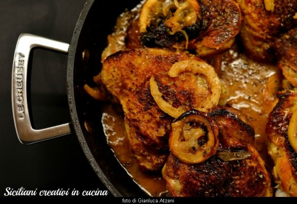 Pollo al limone, con verdure al forno