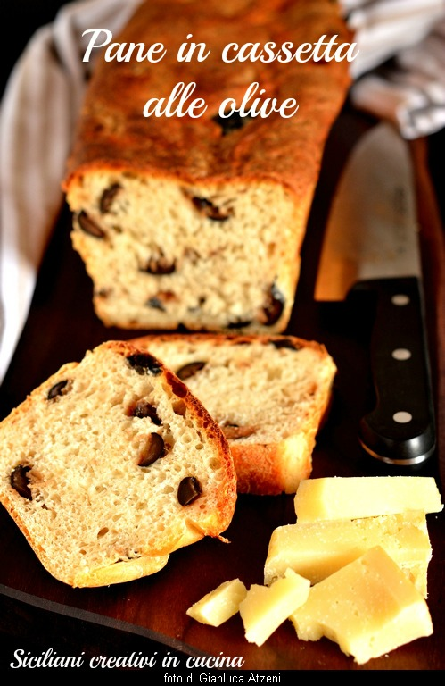 Milkbox bread with olives: with brewer's yeast, soft and tasty