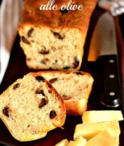 Pane in cassetta al latte con olive: con lievito di birra, morbido e gustoso