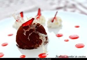 Semifreddo di cioccolato, gelée di fragole e grappa