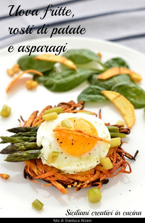 Fried eggs with asparagus and potato rosti
