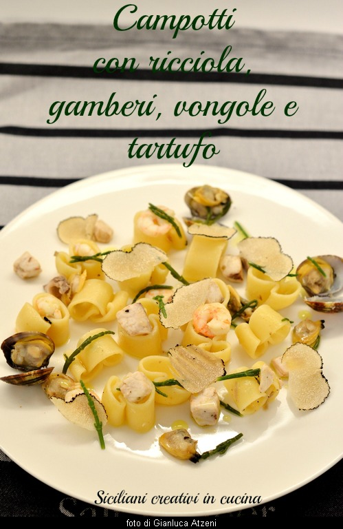 Pasta with shrimp, clams, Yellowtail and truffle: an unusual and elegant first sea