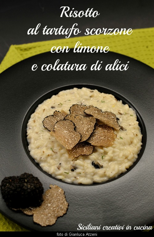 Summer truffle risotto with lemon and anchovy sauce