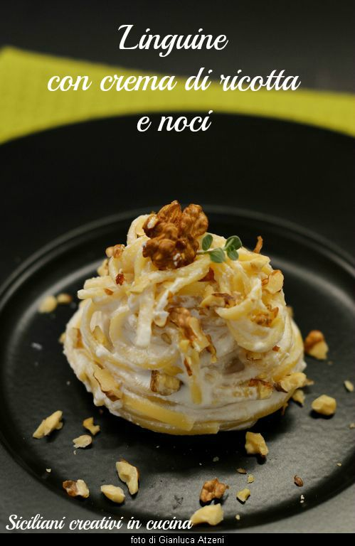 Pasta with ricotta cheese and walnuts
