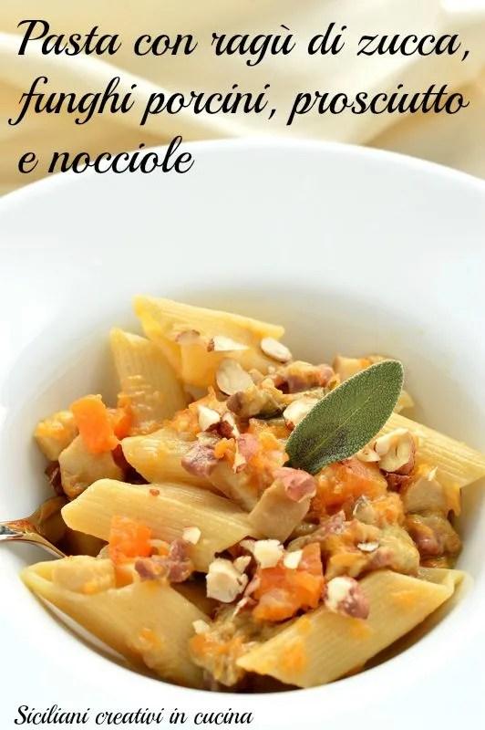 Pasta with pumpkin sauce, mushrooms and hazelnuts