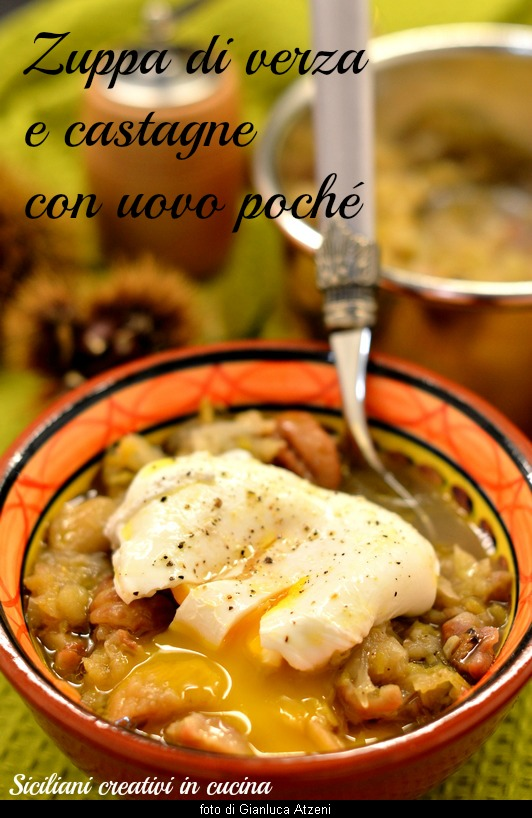 Cabbage soup and chestnut soup with poached eggs