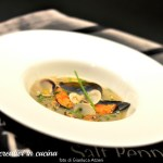 Cream of potato soup with mussels and clams
