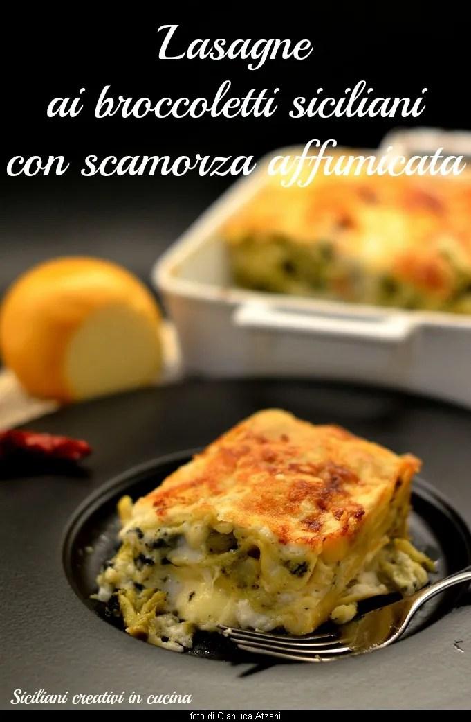 Lasaña blanca con brócoli y queso ahumado