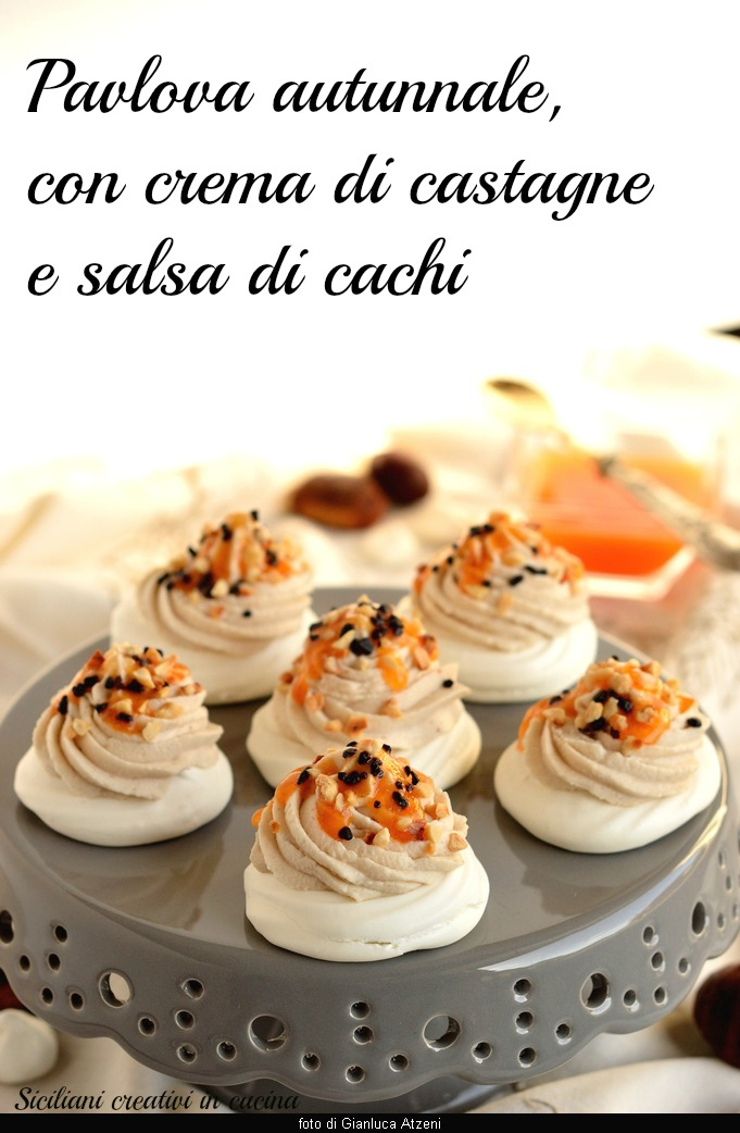 Pavlova with autumn chestnuts and persimmons: a refined sweet and simple to prepare