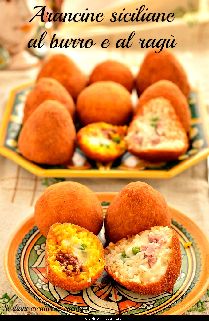 Rice arancini with ragout and butter