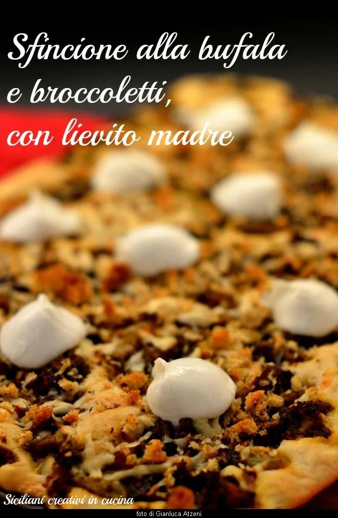 Sfincione siciliana con mozzarella de búfala y brócoli