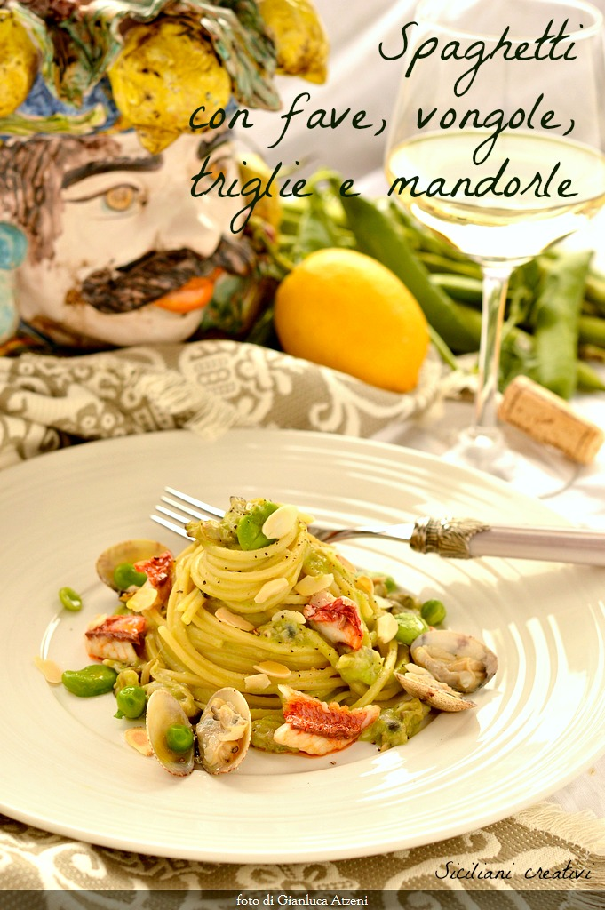 Spaghetti with cream of Fava Beans, clams, mullets and almonds