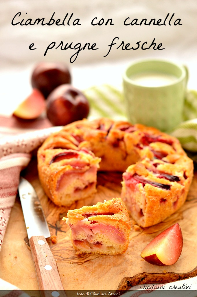 Cake with fresh plums and cinnamon